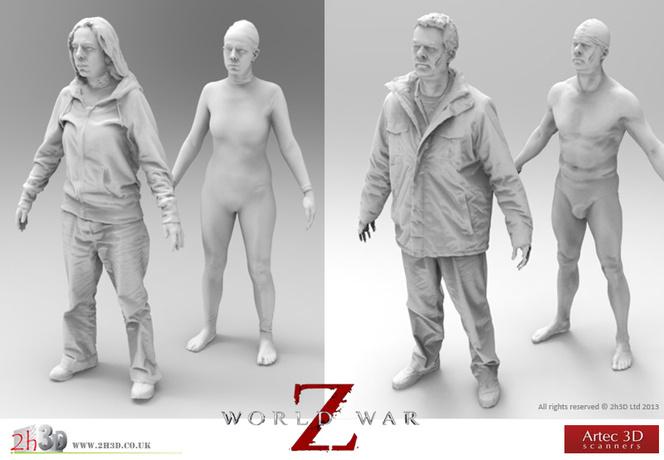 Zombies de World War Z escaneados con escáneres EVA y L